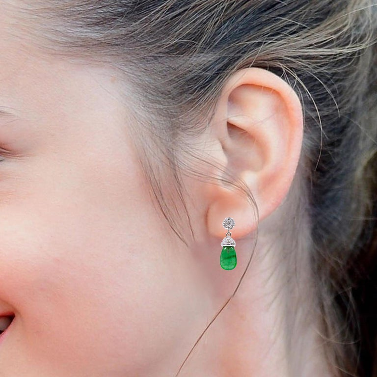 Modern 18 Karat White Gold 3.80 Carat Natural Emerald and Diamond Drop Earrings For Sale
