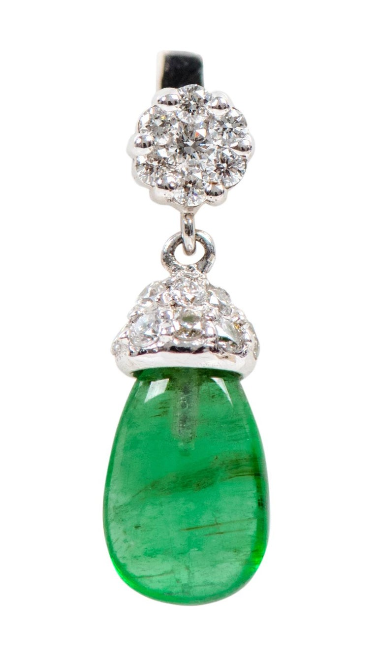 18 Karat White Gold 3.80 Carat Natural Emerald and Diamond Drop Earrings For Sale 1
