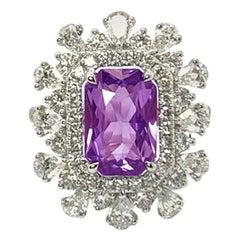 18 Karat White Gold 3.86 Carat No Heat Violet Sapphire Diamond Ring