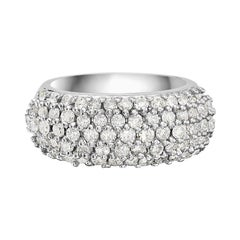 18 Karat White Gold 4-Row Round Diamond Ring