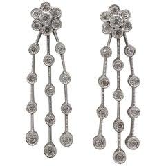 18 Karat White Gold .40 Carat Diamond Dangle Drop Earrings