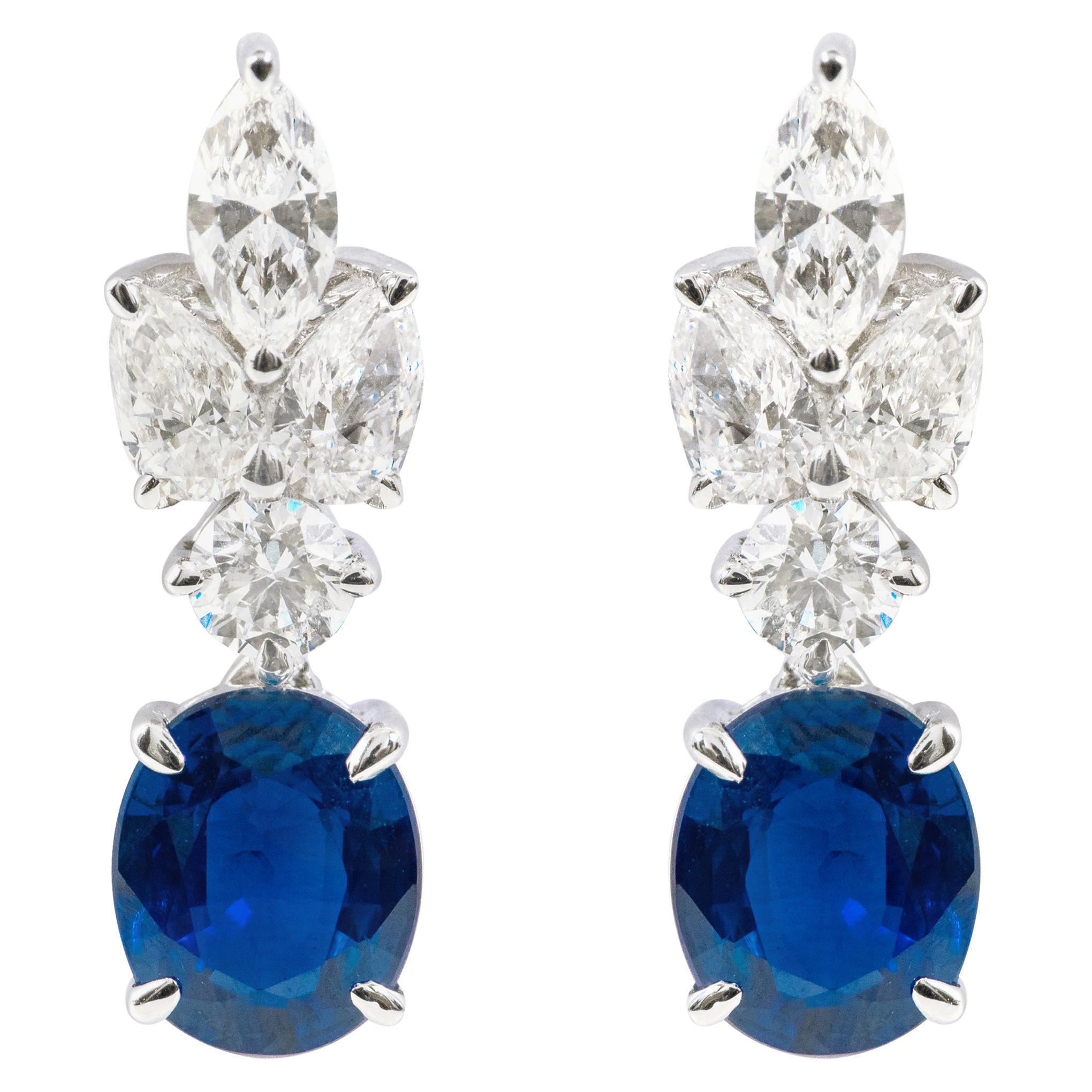 18 Karat White Gold 4.05 Carat Sapphire and Diamond Drop Earrings