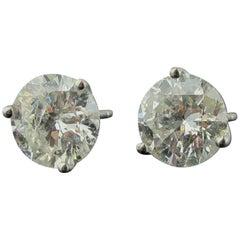 18 Karat White Gold 4.12 Carat Diamond Stud Earrings