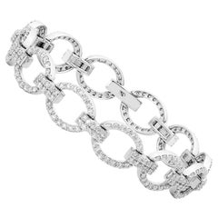 18 Karat White Gold 4.26 Carat Diamond Fancy Link Bracelet
