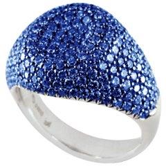 18 Karat White Gold 4.44 Carat Blue Sapphires Pave' Pinky Ring
