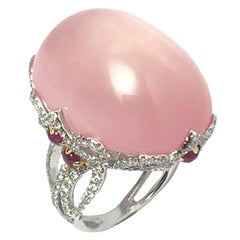 18 Karat White Gold 46.04 Carat Rose Quartz and Diamond Cocktail Ring
