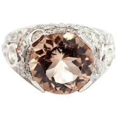 18 Karat White Gold, 4.65 Carat Morganite and 1.75 Carat Diamond Ring