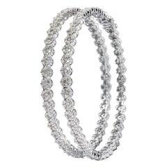 "18 Karat White Gold 4.67 Carat Diamond ""Invisible-Set"" Tennis Bangle Bracelet"