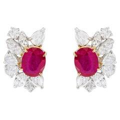 18 Karat White Gold 4.96 Carats Ruby and Diamond Statement Stud Earrings