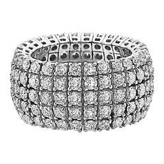 18 Karat White Gold 5-Row Diamond Wedding Band Ring