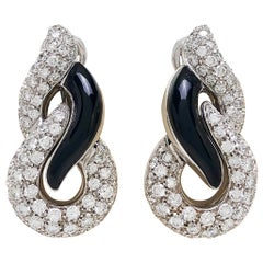 18 Karat White Gold, 5.17 Carat of Diamonds and Black Onyx Swirl Earrings