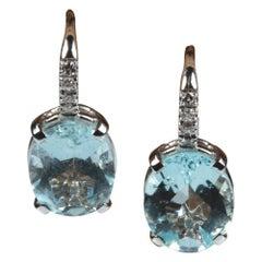 18 Karat White Gold 5.25 Carat Blue Oval Aquamarine and Diamond Earrings