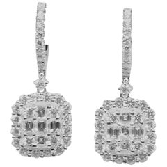 18 Karat White Gold 5.28 Diamond Rectangular Clip-On Earrings