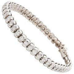 18 Karat White Gold 5.50 Carat Round Brilliant Cut Diamond Tennis Bracelet