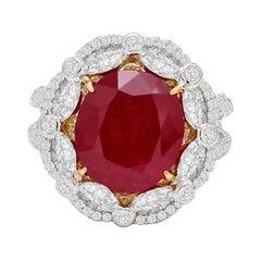 18 Karat White Gold 5.82 Carat Ruby Cluster Cocktail Statement Ring