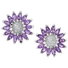 18 Karat White Gold & 5.83 Carat Amethyst Sunflower Earrings with Diamond Center