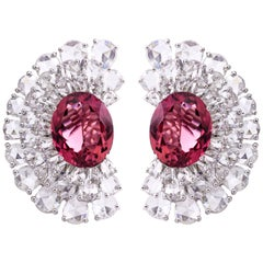 18 Karat White Gold 11.68 Carat Rubelite and Rose Cut Diamond Earrings