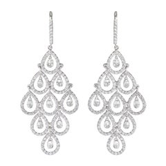 PANIM Cocktail Diamond Dangling Earrings 18 Karat White Gold, 6.23cts