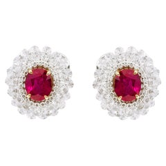 18 Karat White Gold 6.27 Carats Ruby and Diamond Cluster Stud Earrings