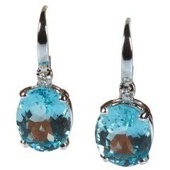 18 Karat White Gold 6.60 Carat Blue Aquamarine and Diamond Earrings