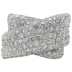 18 Karat White Gold 6.73 Carat Diamond Pavé Ring