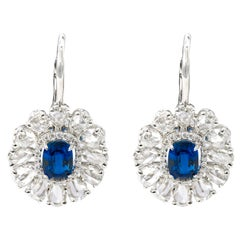 18 Karat White Gold 6.75 Carats Sapphire and Diamond Lever-Back Drop Earrings