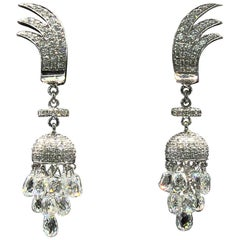 18 Karat White Gold 7.46 Carat Panim Miniature Drop Diamond Earrings