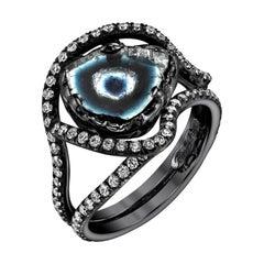 18 Karat White Gold 7.50ct Tourmaline Slice Ring Accented with Diamonds