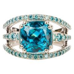 18 Karat White Gold 7.65 Carat Cushion Cut Blue Zircon Ring with Blue Diamonds