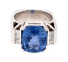 18 Karat White Gold 7.70 Carat Ceylon Blue Sapphire Diamond Ring