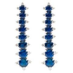 18 Karat White Gold 7.90 Carat Sapphire and Diamond Dangle Earrings
