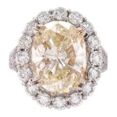 18 Karat White Gold 8.06 Carat Oval Diamond Engagement Ring