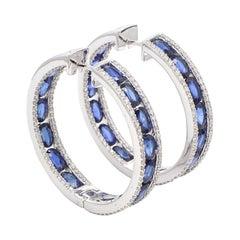 18 Karat White Gold 8.51 Carat Blue Sapphire and Diamond Hoop Earrings