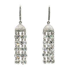 18 Karat White Gold 8.63 Carat Panim Classic Rosecut Tassel Cocktail Earrings