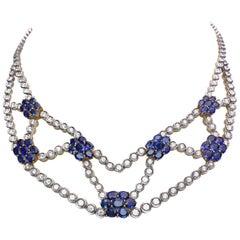 18 Karat White Gold, 8.78 Carat Diamond & 16.56 Carat Blue Sapphire Bib Necklace