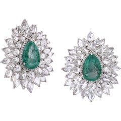 18k White Gold 8.88ct Old Mine Emerald and Rose Cut Diamond Studs Earrings