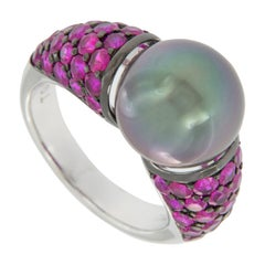 18 Karat White Gold AAA Tahitian Pearl and Pink Sapphire Ring