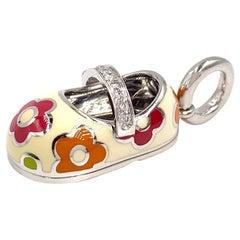 18 Karat White Gold Aaron Basha Baby Girl Shoe Charm
