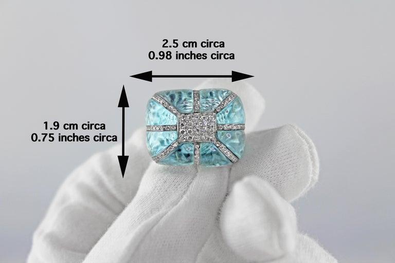 18 Karat White Gold Acquamarine Diamonds Ring  For Sale 9