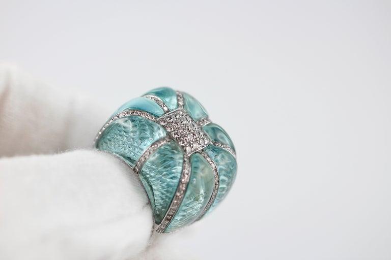 Mixed Cut 18 Karat White Gold Acquamarine Diamonds Ring  For Sale