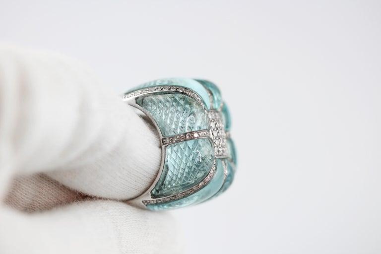 18 Karat White Gold Acquamarine Diamonds Ring  In New Condition For Sale In Milano, IT