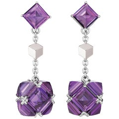 Paolo Costagli 18 Karat White Gold Amethyst 14.50 Carat Very PC Earrings, Petite
