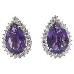 18 Karat White Gold Amethyst and Diamond Earrings
