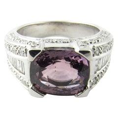 18 Karat White Gold Amethyst and Diamond Ring