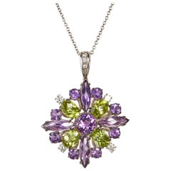 18 Karat White Gold Amethyst Diamonds and Multi-Color Pendant Necklace