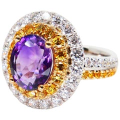 18 Karat White Gold Amethyst Ring with Fancy Vivid Yellow and White Diamonds
