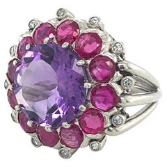 18 Karat White Gold Amethyst Ruby and Diamond Cocktail Ring