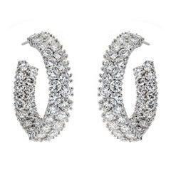 18 Karat White Gold and 10.0 Carat Diamond Earrings