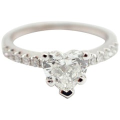 18 Karat White Gold and 1.01 Carat Heart-Cut Diamond Ring with Accents
