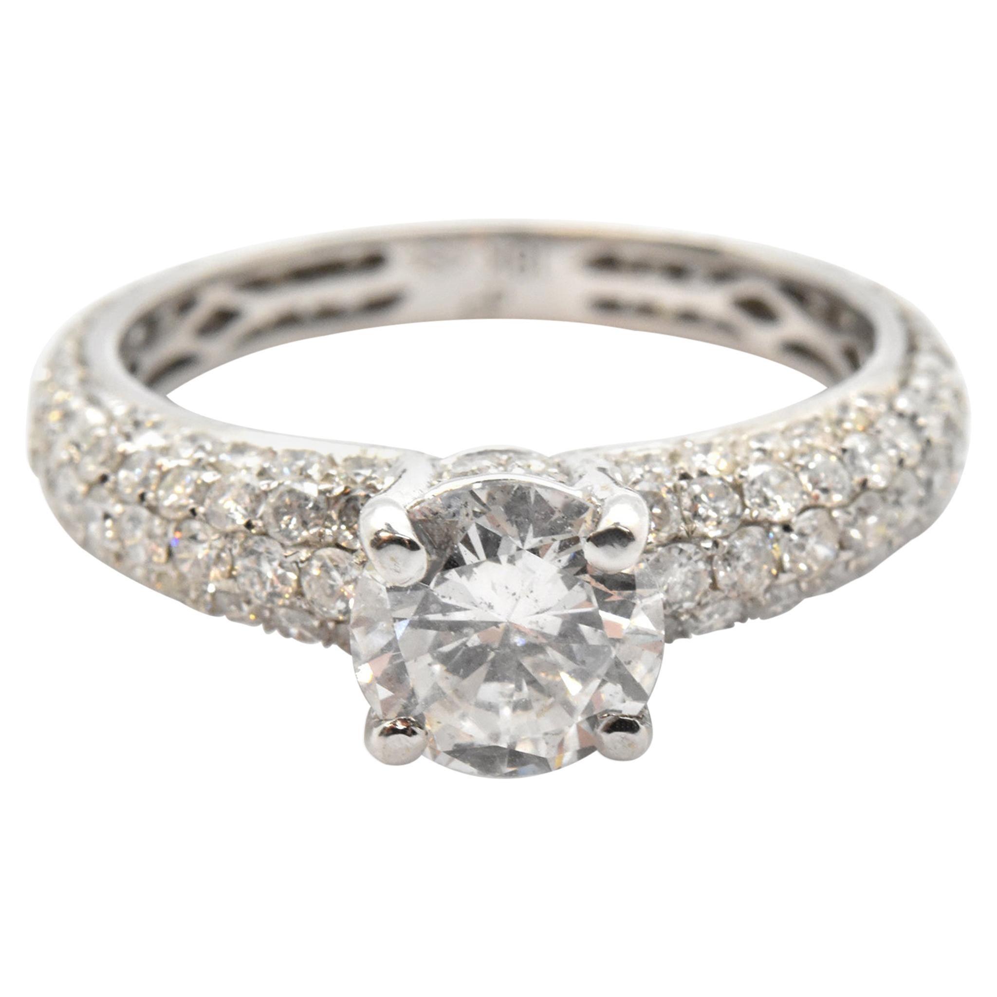 18 Karat White Gold and 1.05 Carat Round Diamond Ring with Pave Shank